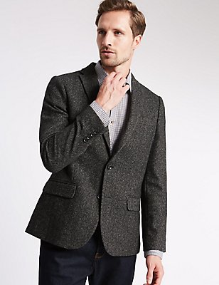 Slim Fit Textured 2 Button Jacket, CHARCOAL, catlanding