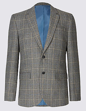 Big & Tall Wool Blend Checked Jacket, NEUTRAL, catlanding