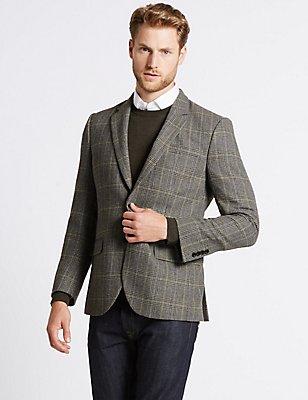 Wool Blend Single Breasted Jacket, NEUTRAL, catlanding