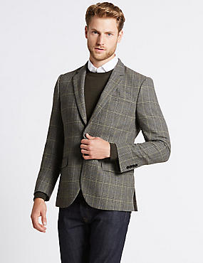 Wool Blend 2 Button Jacket, NEUTRAL, catlanding