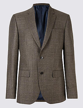 Big & Tall Checked Jacket, DARK BROWN, catlanding