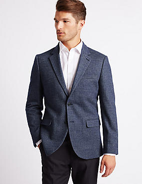 Wool Blend Knitted Herringbone Jacket, INDIGO, catlanding
