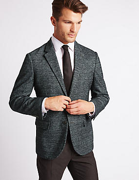 Wool Blend Knitted Check Jacket, CHARCOAL, catlanding