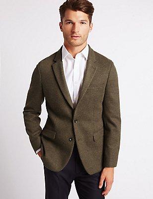 Brown Textured Slim Fit Jacket, BROWN, catlanding
