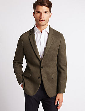 Brown Textured Slim Fit Jacket, BROWN, catlanding