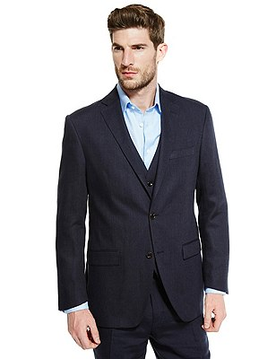Linen Miracle™ 2 Button Twill Jacket, NAVY, catlanding