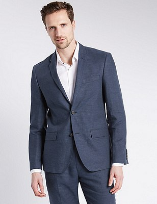 Linen Miracle™ Tailored Fit 2 Button Jacket, INDIGO, catlanding