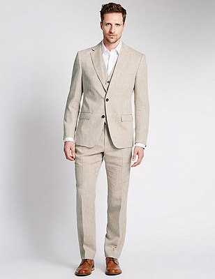 Linen Miracle™ 2 Button Jacket with Buttonsafe™, NEUTRAL, catlanding