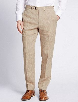 Linen Miracle™ Flat Front Trousers with Buttonsafe™, NEUTRAL, catlanding