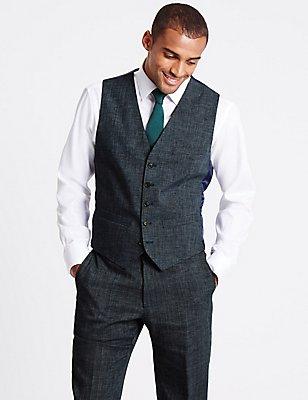 Linen Blend Waistcoat , GREY MIX, catlanding