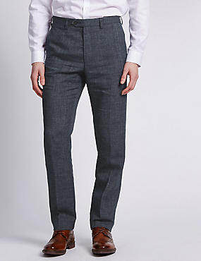 Big & Tall Grey Flat Front Textured Trousers, GREY MIX, catlanding