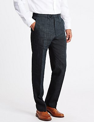 Grey Linen Miracle Regular Fit Trouser, GREY MIX, catlanding