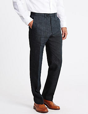 Linen Miracle™ Flat Front Trousers, GREY MIX, catlanding
