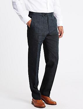 Pantalon gris coupe standard, doté de la technologie Linen Miracle, GRIS ASSORTI, catlanding