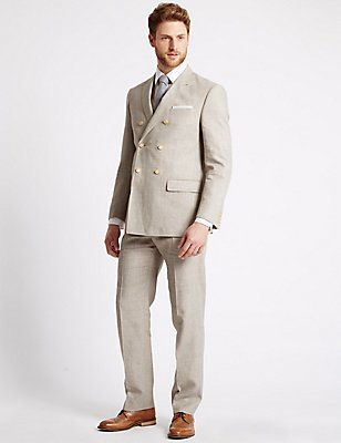Linen Miracle Double Breasted Jacket, NEUTRAL, catlanding