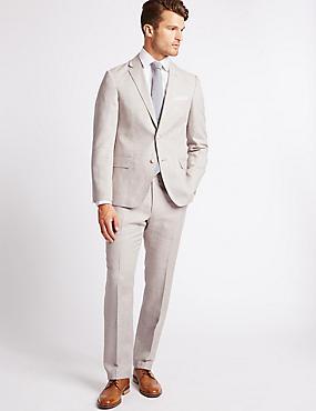 Linen Rich Textured Tailored Fit Jacket, NEUTRAL, catlanding