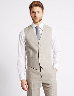 Linen Miracle Regular Fit Waistcoat, NEUTRAL, catlanding