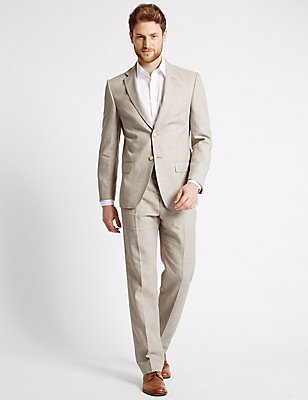 Linen Miracle Regular Fit Jacket, NEUTRAL, catlanding