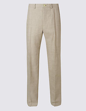Big & Tall Regular Linen Miracle Trousers, NEUTRAL, catlanding