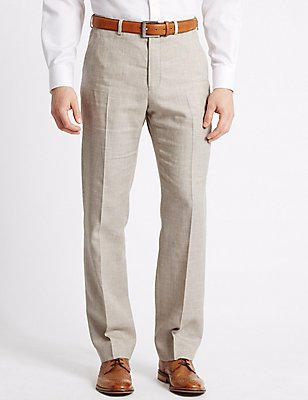 Linen Miracle Regular Fit Trousers, NEUTRAL, catlanding