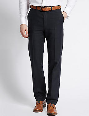 Linen Miracle Tailored Fit Trouser, NAVY, catlanding