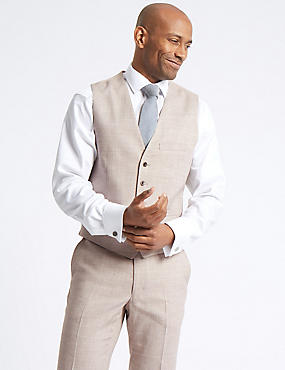 Linen Miracle Tailored Fit Waistcoat, NEUTRAL, catlanding