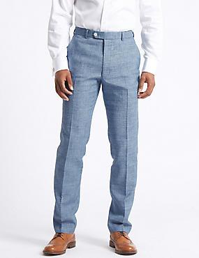 Linen Miracle Flat Front Trousers, BLUE, catlanding