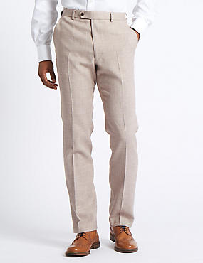 Linen Miracle Flat Front Trousers, NEUTRAL, catlanding