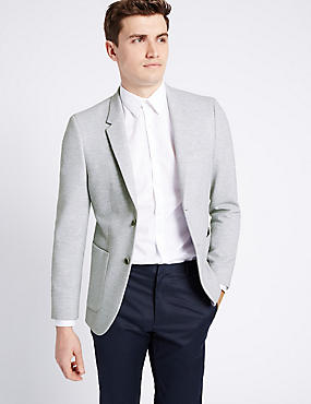 Grey Cotton Blend Jersey Jacket, LIGHT GREY, catlanding