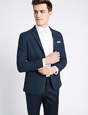 Navy Pure Cotton Modern Slim Jacket, DARK NAVY, catlanding