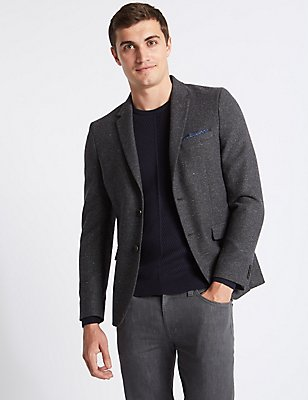 Wool Blend Textured Jacket, GREY MIX, catlanding