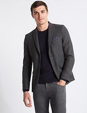 Wool Blend Textured Jacket, GREY MIX, catlanding