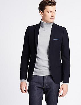Wool Blend Textured Jacket, NAVY, catlanding