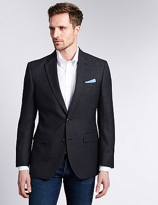 Buttonsafe™ Grid Check 2 Button Jacket with Wool, NAVY MIX, catlanding