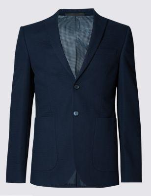Приталенный текстурный хлопковый пиджак на 2 пуговицах M&S Collection T193735Q