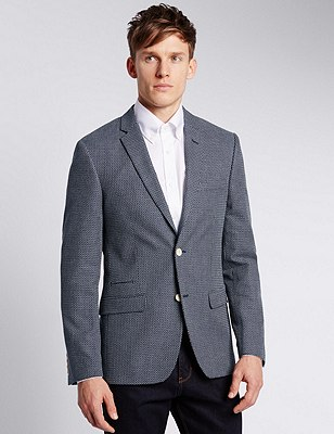 Pure Cotton Tailored Fit 2 Button Textured Jacket, NAVY MIX, catlanding
