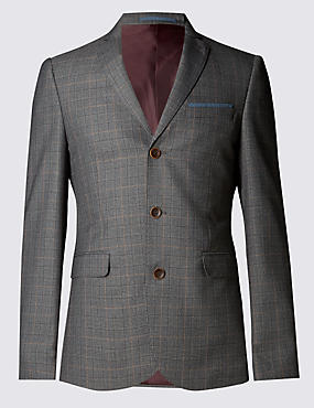 Prince of Wales Checked 3 Button Modern Slim Jacket