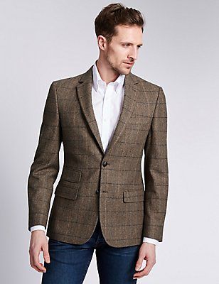 Slim Fit Large Check 2 Button Jacket with Wool, BROWN, catlanding