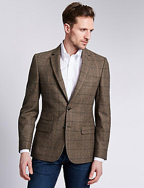 Buttonsafe™ Slim Fit Large Check 2 Button Jacket with Wool, BROWN, catlanding
