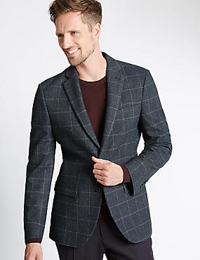 Single Breasted 2 Button Checked Jacket with Buttonsafe™, BLUE MIX, catlanding
