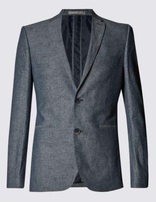 Приталенный пиджак с 2 пуговицами из льняного полотна шамбре