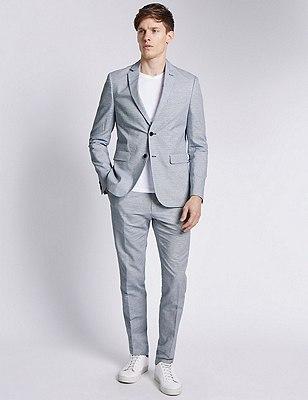 Cotton Rich Modern Slim Fit Striped 2 Button Jacket with Linen, PALE BLUE, catlanding