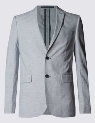 Приталенный хлопковый пиджак в тонкую полоску с добавлением льна