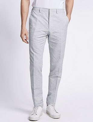 Cotton Rich Modern Slim Fit Striped Flat Front Trousers with Linen, PALE BLUE, catlanding