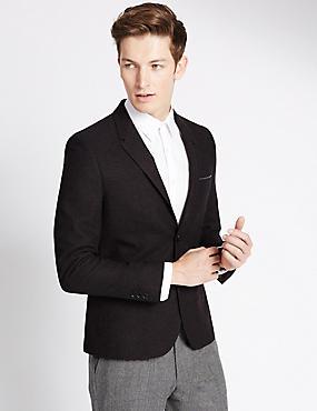 Modern Slim Melange Jacket with Buttonsafe™, BURGUNDY, catlanding