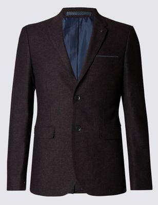 Приталенный пиджак слим из меланжевого волокна с технологией Buttonsafe™