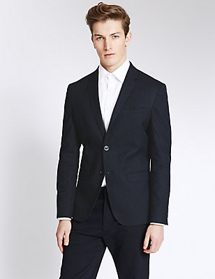 Modern Slim 2 Button Jacket , NAVY, catlanding
