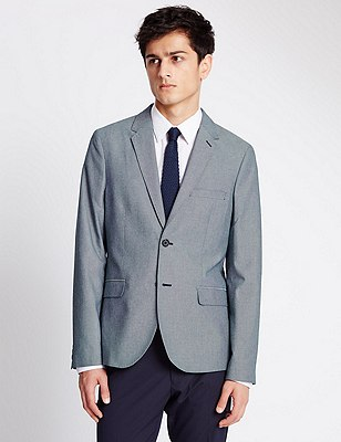Modern Tailored Fit 2 Button Jacket with Buttonsafe™, NAVY MIX, catlanding