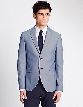 Pure Cotton Modern Slim Fit 2 Button Jacket, BLUE MIX, catlanding