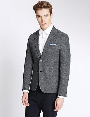 Basket Weave Cotton Linen Blend Jacket, NAVY MIX, catlanding